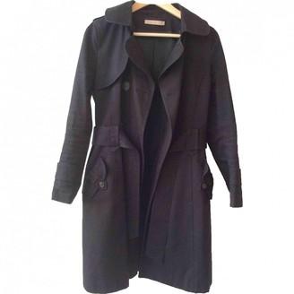 Sandro Black Cotton Trench Coat for Women
