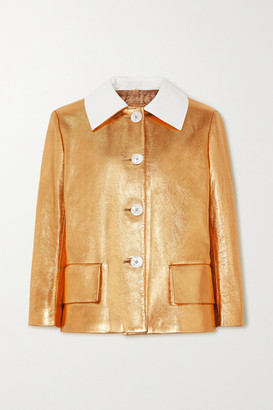 Prada Cotton-trimmed Metallic Textured-leather Jacket - Gold