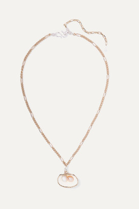 WALD Berlin - Drop It Like It's Hot Gold-plated, Shell And Pearl Necklace