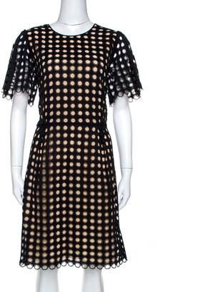 Chloé Black Cotton Eyelet Lace Scalloped Sheath Dress M