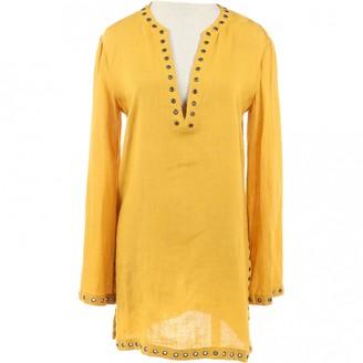 Celine Yellow Linen Tops