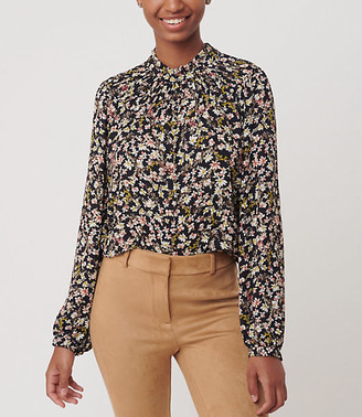 LOFT Floral Shirred Ruffle Blouse