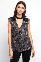 Daniel Rainn Short Sleeve Velvet Burnout Lace Blouse