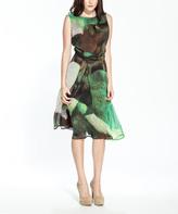 Amelia Green Floral A-Line Dress