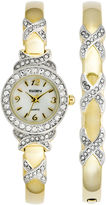 Elgin Womens Gold-Tone Crystal-Accent Watch and Bangle Set