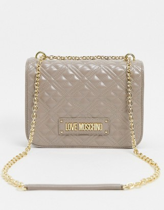 Love Moschino quilted shoulder bag in taupe