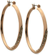 GUESS Earrings, Rose Gold-Tone Crystal Twisted Hoop Earrings