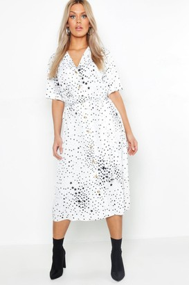 boohoo Plus Star Print Button Detail Midi Dress