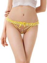 BY&M G-string Sexy Bandage Embroidery Hollow Lace Crotch Thongs for Women for Sexy