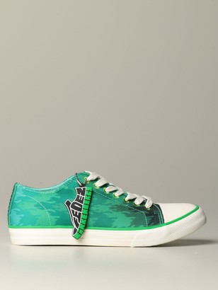 Bikkembergs Per Fedez Finnie Sneakers In Canvas With A Printed Flame