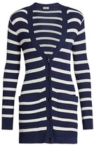 L'Agence Korin Button-Up Striped Cardigan