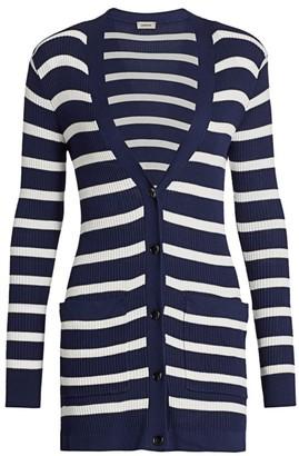 L'Agence Korin Button-Up Striped Cardigan
