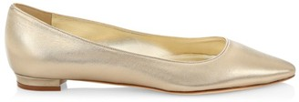 Manolo Blahnik Titto Metallic Leather Ballet Flats
