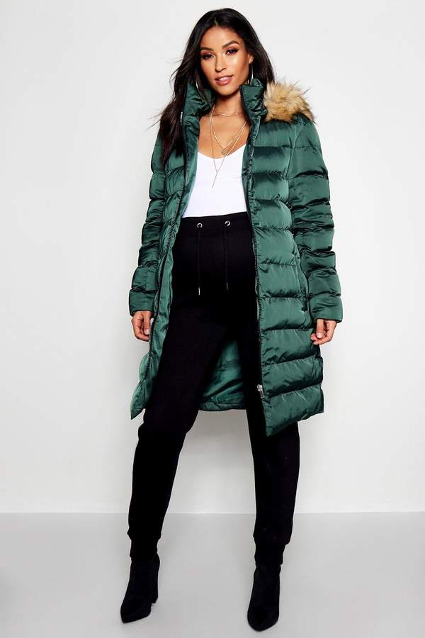 Maternity Padded Faux Fur Trim Coat