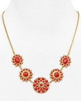 """Carolee Lux Coral Flower Necklace, 16"""""""