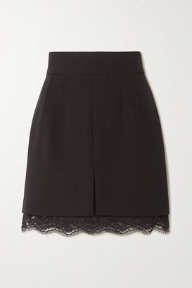 Dolce & Gabbana Chantilly Lace-trimmed Stretch-wool Mini Skirt - Black