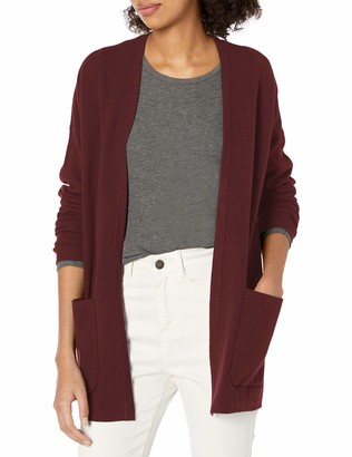 Daily Ritual Women's Standard Ultra-Soft Milano Stitch Patch Pocket Long Cardigan Sweater