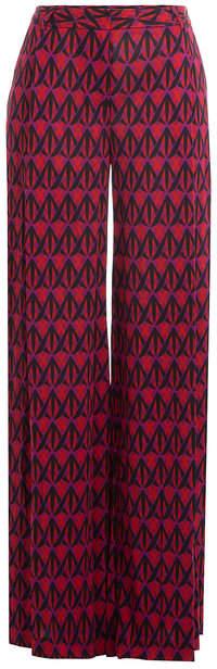 Diane von Furstenberg Wide Leg Printed Silk Pants