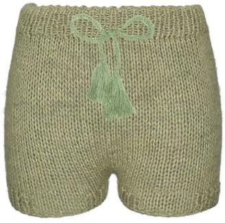 Yuyaykim Green Hand-Knitted Shorts