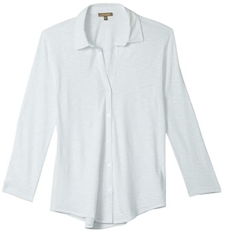 Lilla P 3/4 Sleeve Button-Down Top in Flame Modal (White) Women's Clothing
