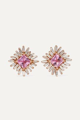 Suzanne Kalan 18-karat Rose Gold, Sapphire And Diamond Earrings