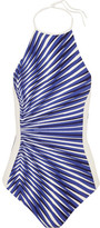 La Perla Op-art Printed Halterneck Swimsuit - Bright blue