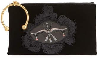 RED Valentino Graphic-Printed Velvet Clutch Bag