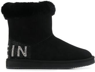 Philipp Plein embellished flat boots