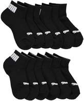 "Puma Boys' ""Cuffed Logo"" 6-Pack Quarter Crew Socks"