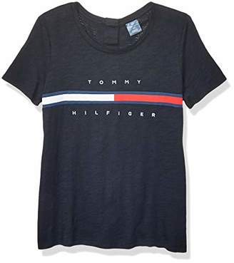Tommy Hilfiger Women's Adaptive Seated T Shirt with Magnetic Buttons Signature Stripe Tee