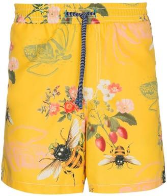 Riz Yellow swim shorts with bee print