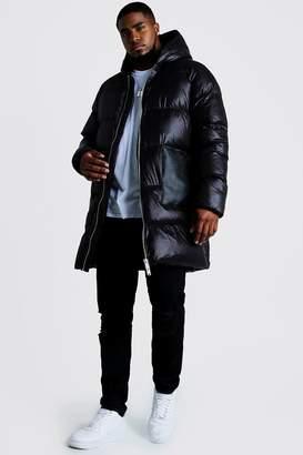 BoohoomanBoohooMAN Mens Black Big & Tall Longline Matte Look Puffer, Black