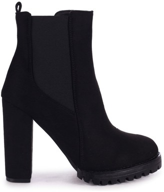 Linzi ATTRACTION - Black Suede Round Toe Heeled Ankle Boot With Block Heel Cleated Sole