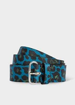 Women's Blue 'Leopard' Print Leather Belt