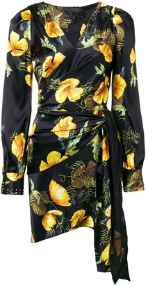 Philipp Plein Floral Printed Wrap Dress