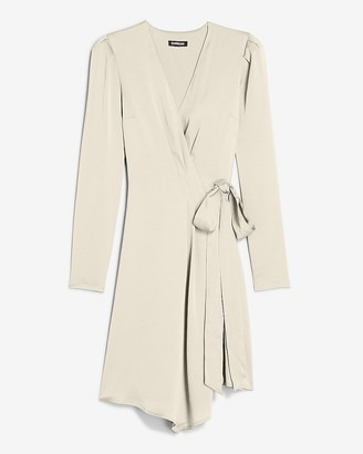 Express Satin Puff Sleeve Wrap Dress
