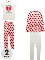 Very 2 Pack Lips & Heart Print Pyajamas