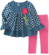Kids Headquarters 2-Pc. Polka Dot-Print Tunic & Leggings Set, Little Girls (4-6X)