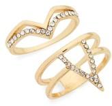 Topshop Women's Set Of 2 Crystal V Rings