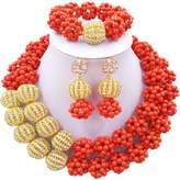 laanc 2 Layer Turquoise Ball and Rhinestones Beads African Necklace Bracelet Nigeria Wedding Jewelry Set