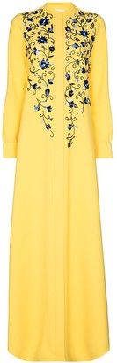 Carolina Herrera High Neck Embroidered Caftan