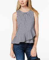 Maison Jules Gingham-Print Peplum Top, Created for Macy's