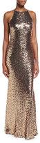 Badgley Mischka Sleeveless Cowl-Back Sequin Column Gown, Copper