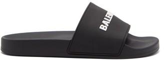 Balenciaga Logo Embossed Rubber Slides - Mens - Black