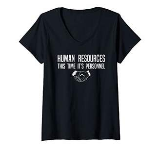 Womens Funny Human Resources Working Staff Pun V-Neck T-Shirt