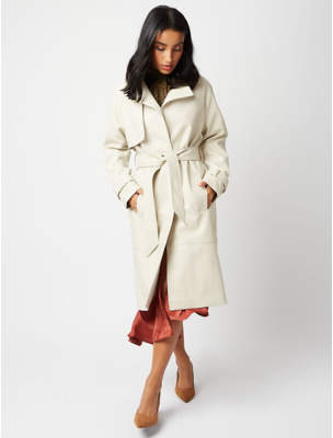 George Cream Faux Leather Trench Coat