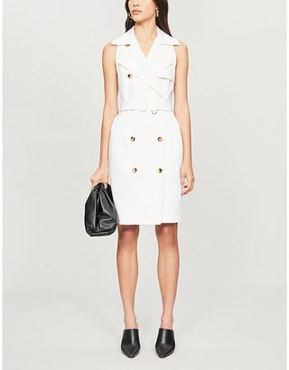 Max Mara Bianco White Veranda Double-Breasted Stretch-Cotton Midi Dress, Size: 2