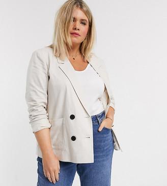 Vero Moda Curve linen blazer in cream