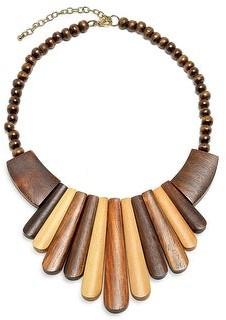Bling Jewelry Artisan Tone Teak Wood Boho Fan Bib Collar Statement Necklace Woman