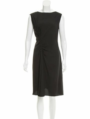 Prada Gathered Midi Dress Black